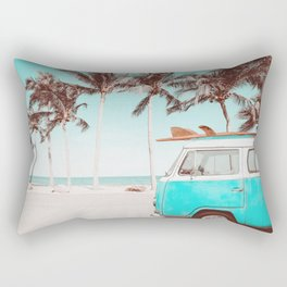 Retro Camper Van With Surf Board Rectangular Pillow