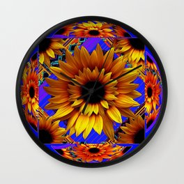GOLDEN SUNFLOWERS BLUE AESTHETIC PATTERN Wall Clock