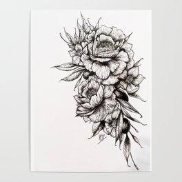 Floral Bouquet & Grapes Poster