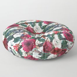 Festive Red Floral Arrangement on White with Black Stripes  Floor Pillow