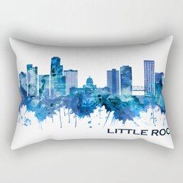 Little Rock Arkansas Skyline Blue Rectangular Pillow