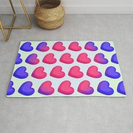 Pattern of red and blue heart shapes on a white background Rug