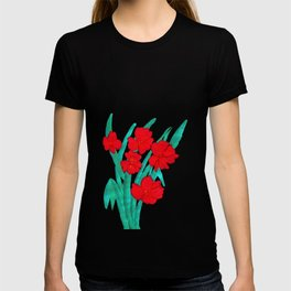 Red flowers gladiolus art nouveau style T-shirt