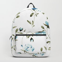 Peonies in White/Blue Backpack