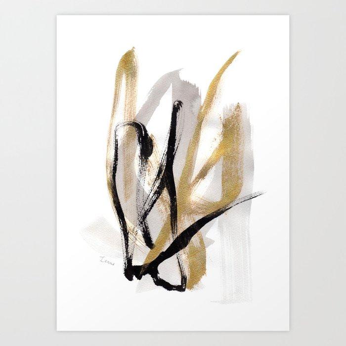 Black Gold Abstract Modern Live Your Color No12 Kunstdrucke