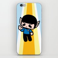 spock iPhone & iPod Skins featuring Spock by Ziqi