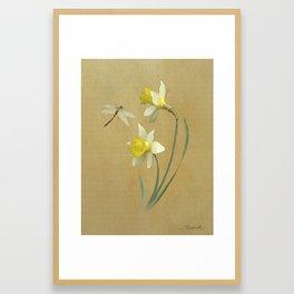 Daffodil and Dragonfly Framed Art Print
