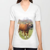 cows V-neck T-shirts featuring Cows by AstridJN