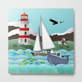 Coastal Sailing - Nautical Landscape Scene Metal Print