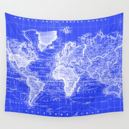 Vintage Map of The World (1833) Blue & White Wall Tapestry