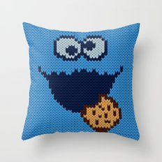 monster 'nom nom' knit Throw Pillow