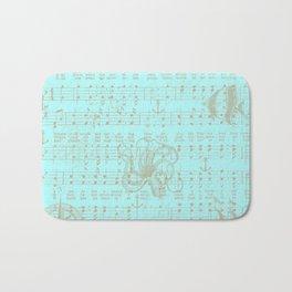 Vintage aqua brown nautical classic music sheet Bath Mat