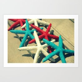 Patriotic Starfish Art Print