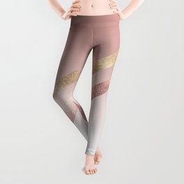 Modern Chic Rose Gold Pink Chevron Gradient Leggings