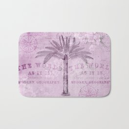 Pink Vintage Palm Tree And Travel Typography Art Bath Mat