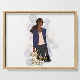 Wife Mom Boss | African American Lady Boss Serving Tray
