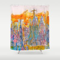 barcelona Shower Curtains featuring Barcelona by Graham Elvis
