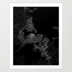 Auckland map New Zeland Art Print