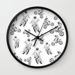 Dirt Motocross Motorbike Pattern Wall Clock