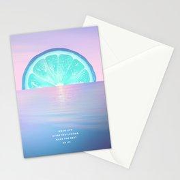 When life gives you lemons - Surreal Lemon Collage Sunset Stationery Cards