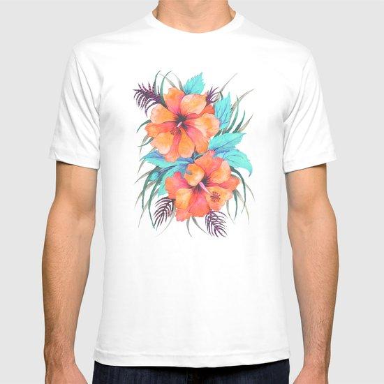 TROPICAL FLOWER {orange hibiscus}  T-shirt