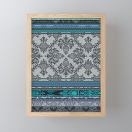 Teal, Aqua & Grey Vintage Bohemian Wallpaper Stripes Framed Mini Art Print