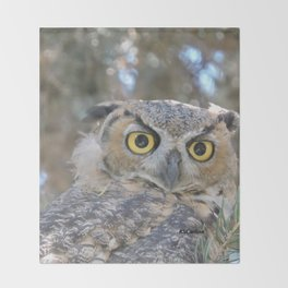 Young Owl at Noon Throw Blanket
