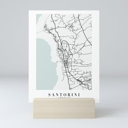Santorini Greece Blue Water Street Map Mini Art Print