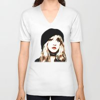 stevie nicks V-neck T-shirts featuring Stevie Nicks - Rhiannon - Pop Art by William Cuccio aka WCSmack