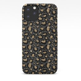 Black Gold Leopard Print Pattern iPhone Case