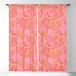 Pink Tropical Leaves Blackout Curtain