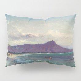 Diamond Head, Waikiki Beach, and Helumoa, Hawaii landscape painting by Charles Furneaux Pillow Sham