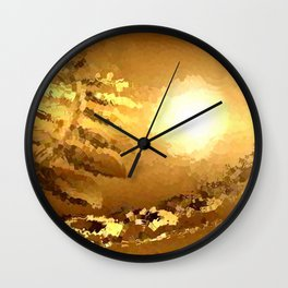 golden landscape. Wall Clock