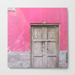 Grey Door on Pink Wall (Retro and Vintage Urban, architecture photography) Metal Print