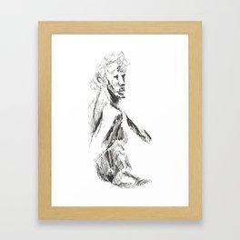 a sketch of a male Framed Art Print