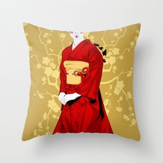 Geisha R Throw Pillow