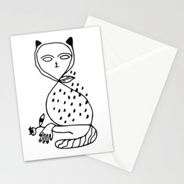 Graphic black white line art cat Stationery Cards