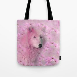 PINK WOLF FLOWER SPARKLE Tote Bag
