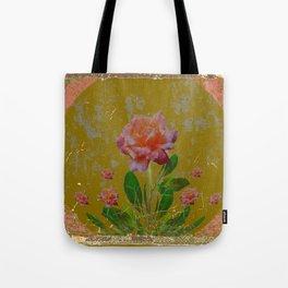 ANTIQUE AVOCADO COLOR  CORAL  PINK ROSES BOTANICAL ART Tote Bag