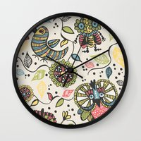 woodland Wall Clocks featuring Woodland by Sarah Doherty