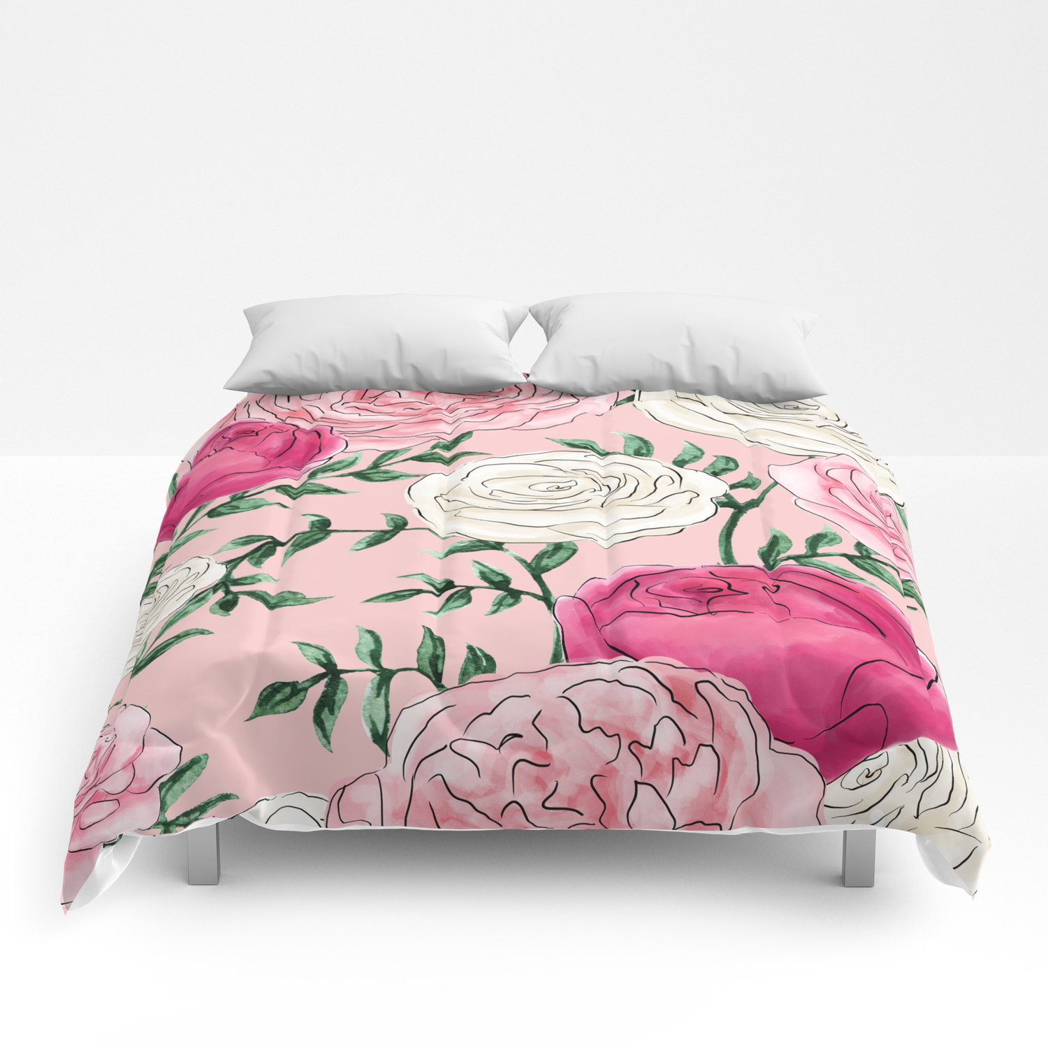 Rose Florals and Stems in Blush Comforters