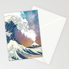 Great Wave Off Kanagawa Surrealism-Mount Fuji Eruption and Starry Sky Stationery Cards