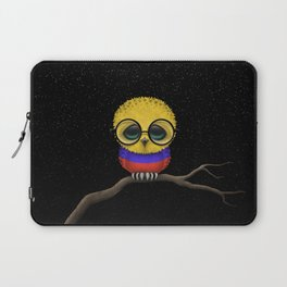 Baby Owl with Glasses and Colombian Flag Laptop Sleeve