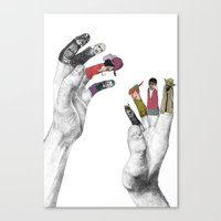 hands Canvas Prints featuring Us and Them by Jamie Mitchell