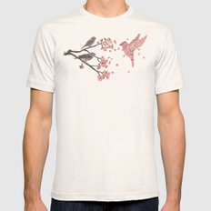 Blossom Bird  Mens Fitted Tee LARGE Natural