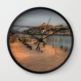 Porto Bridge Dusk Wall Clock
