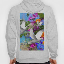 White Doves in Blue & Purple Garden Hoody