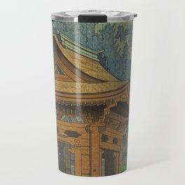 Asano Takeji Japanese Woodblock Print Vintage Mid Century Art Shinto Shrine Forest Travel Mug