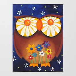 Owl with Daisy Eyes Poster