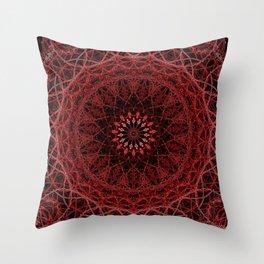 Helter Skelter Red Neon Mandala Throw Pillow